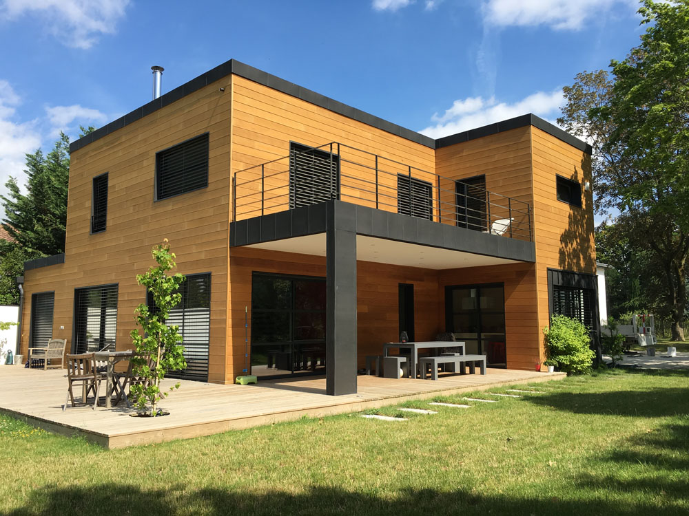 Bardage zinc sur ossature bois plan maison tage ossature for Villa ossature bois